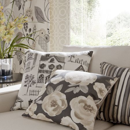 Clarke And Clarke   Folia Fabric Collection   Grey Cushion With Cream  Florals, Grey And