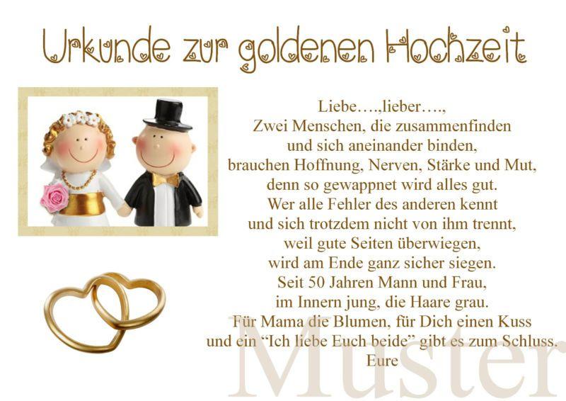 Urkunde Zur Goldene Hochzeit Versand 50 Hochzeitstag Gold Brautpaar