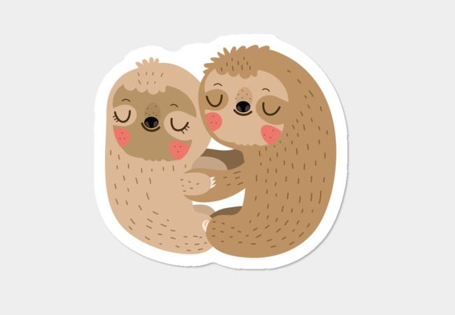 Sloth love sticker design by humans