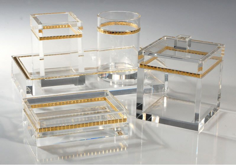 Mike U0026 Ally Ice With Gold Lucite Clear Bathroom Sets Http://www.