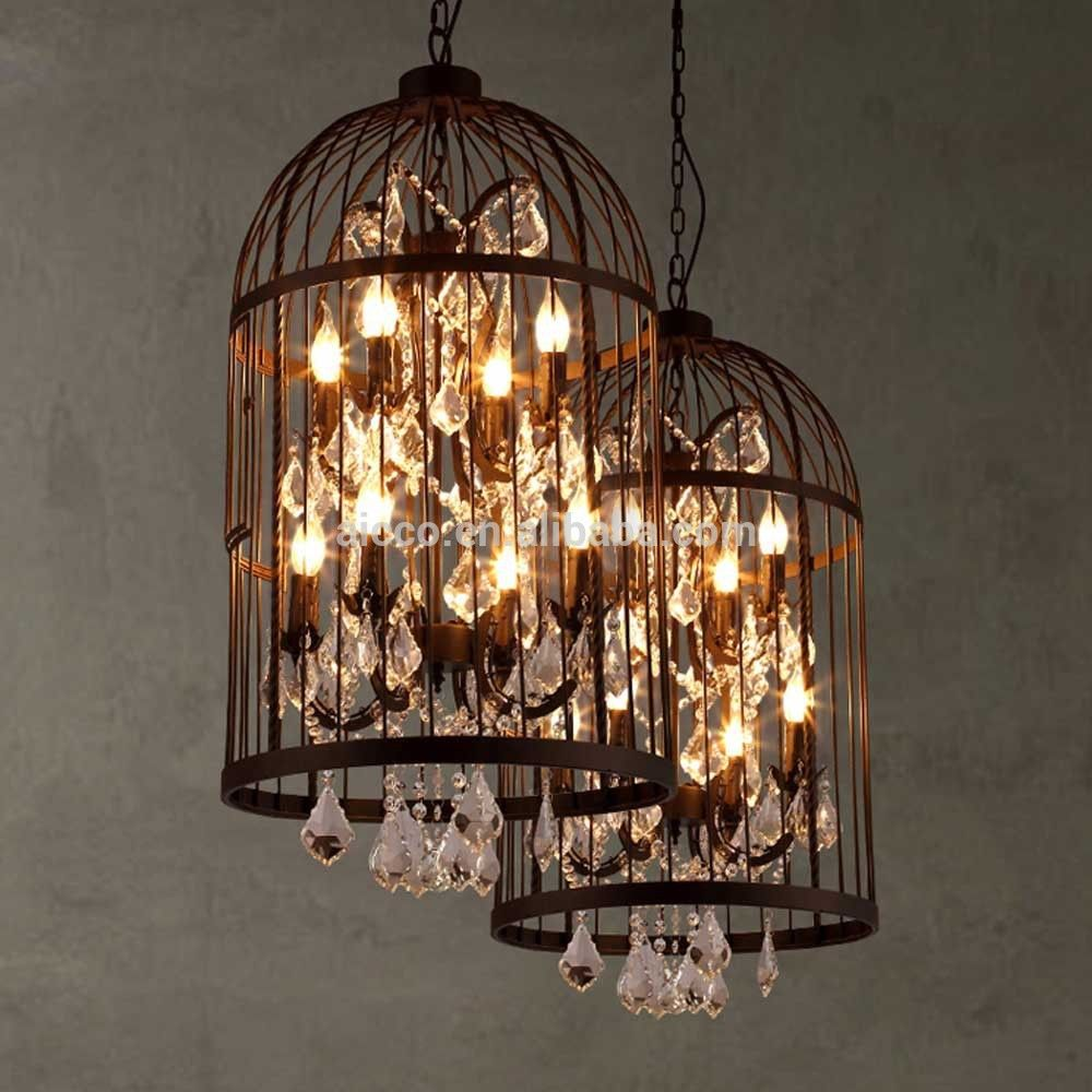 Vintage Industrial Pendant Light Bird Cage With Crystal Chandelier