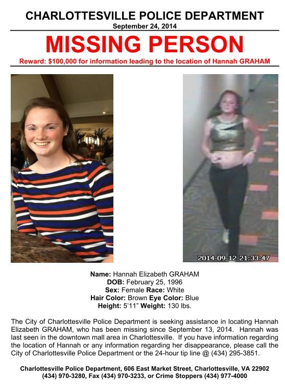 ALERT********UPDATE New Hannah Graham Missing Person Poster