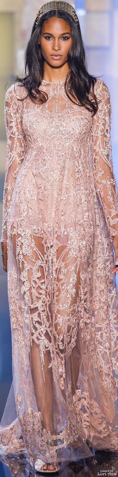 Elie Saab ~ Couture Pink Embellished Sheer Gown Fall 2015 | moda ...
