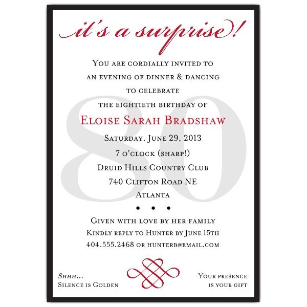 Classic 80th Birthday Red Surprise Invitations