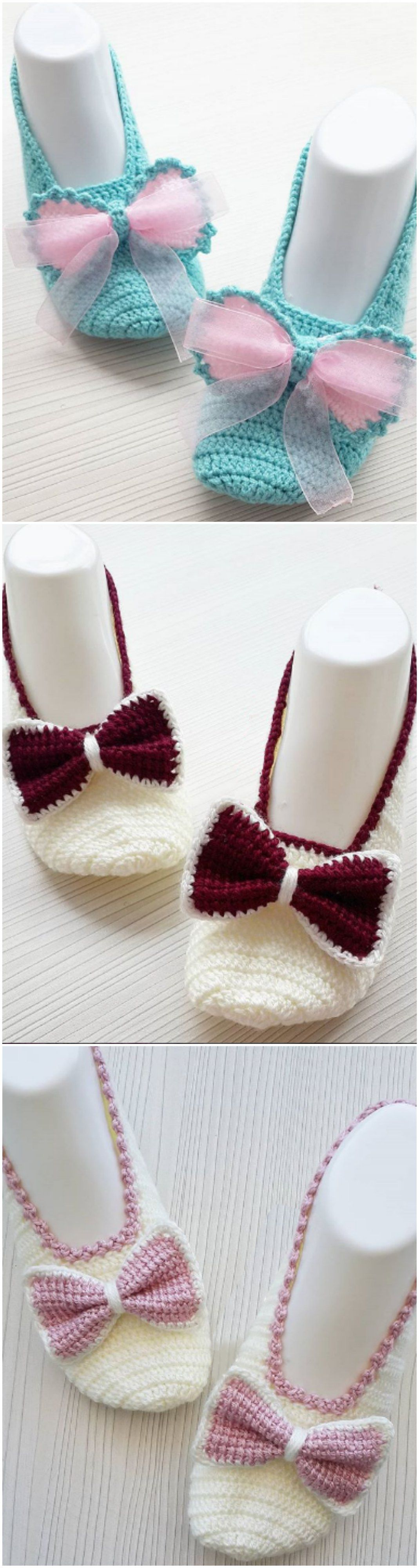 Crochet Bow Slippers | crochet | Pinterest | Ganchillo, Croché and ...