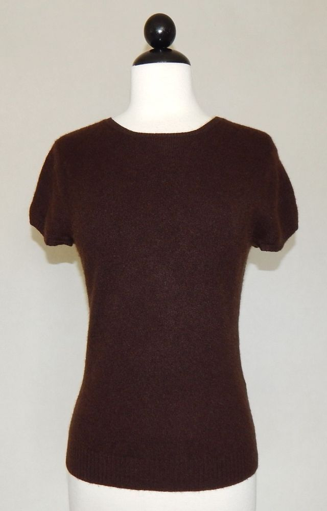 J. CREW Dark Brown Soft 100% Cashmere Short Sleeve Sweater Top ...