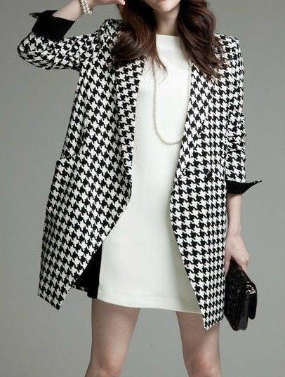 Black White Long Sleeve Houndstooth Coat - Fashion Clothing, Latest Street Fashi...#black #clothing #coat #fashi #fashion #houndstooth #latest #long #sleeve #street #white