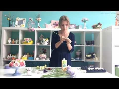 """Букет из зефирной глины """"Сборка букета"""" ч9/ Flower clay craft tutorial """"..."""