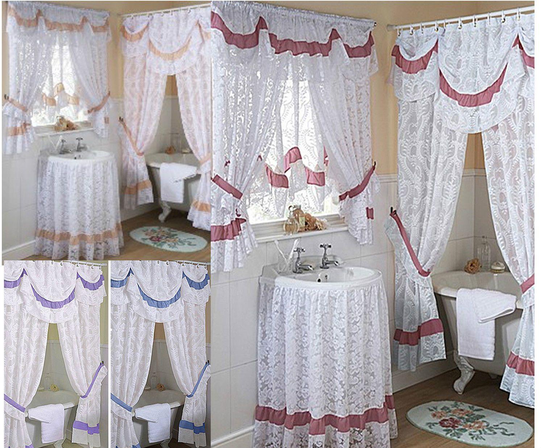 Chantilly lace bathroom window curtains, mock austrian - LAST FEW ... for Lace Bathroom Window Curtains  268zmd