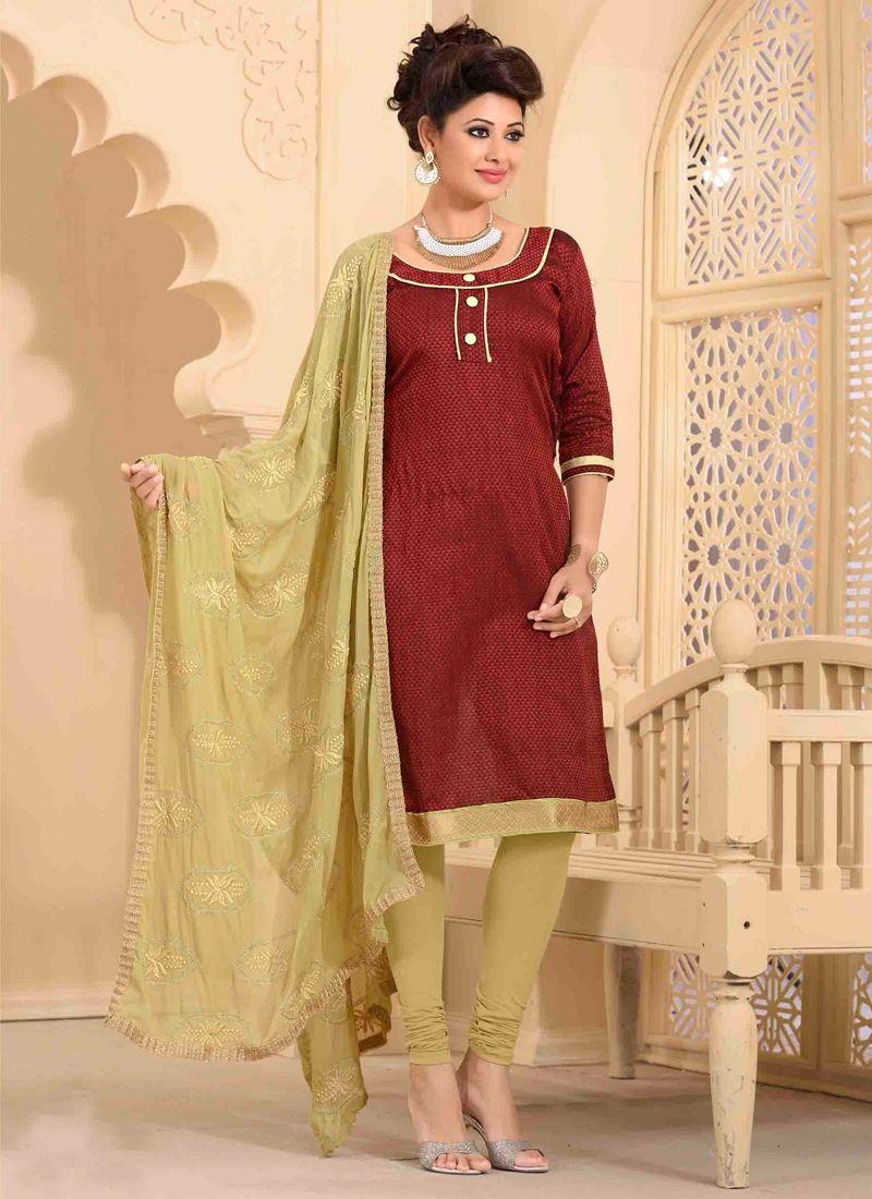 d053a52d8f Modern Jute Silk Lace Work Churidar Salwar Kameez   Item Code: 5083 ...