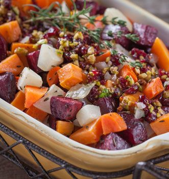 Roasted Root Vegetables with Cranberry Pistachio Relish Pasture Perfect Holidays recipe from @OrganicValley