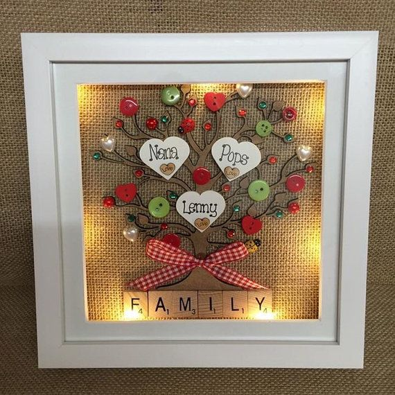 "9"" LED Light Box Frame Personalised Family Tree Scrabble"