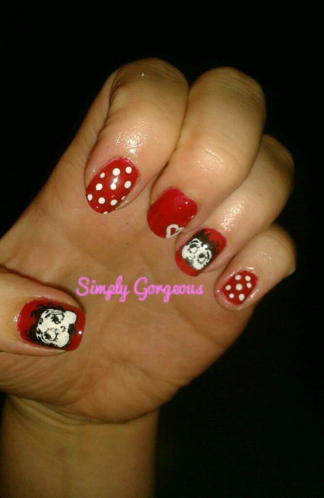 Hand Painted Betty Boop Nail Art Nail Designs Pinterest Betty Boop