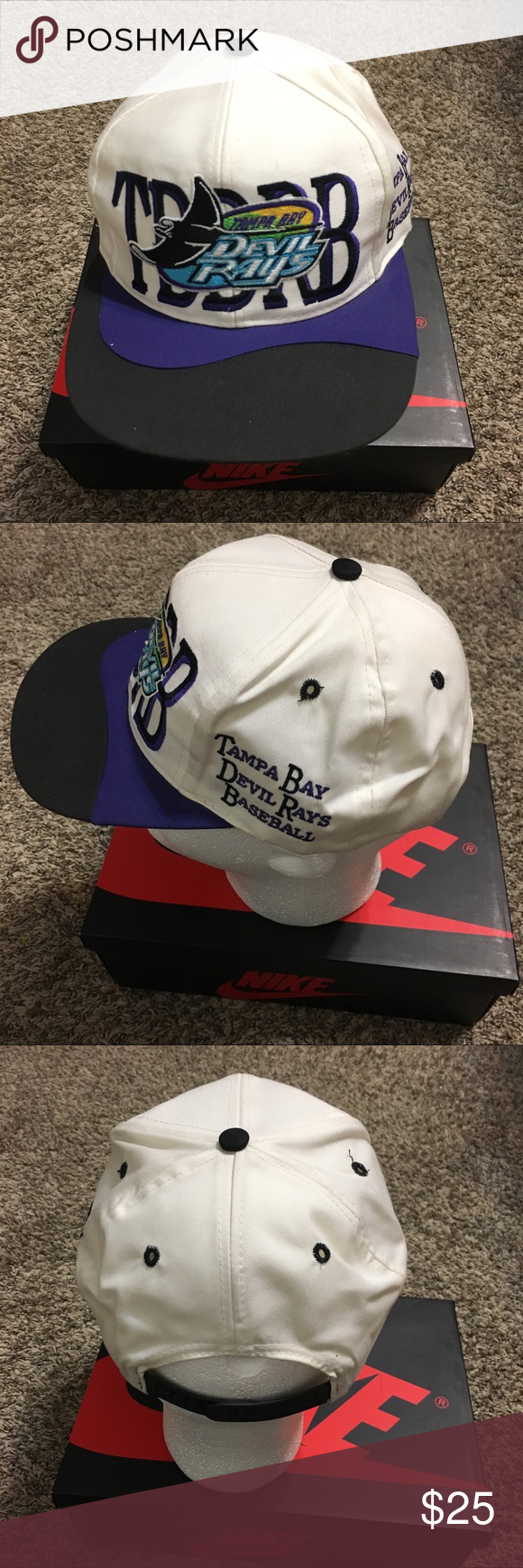95ea1e526ee Vintage MLB Tampa Bay Devil Rays Snapback Vintage 90s MLB Baseball Tampa  Bay Devil Rays Purple Black Snap Back Hat Good condition just some light  wear MLB ...