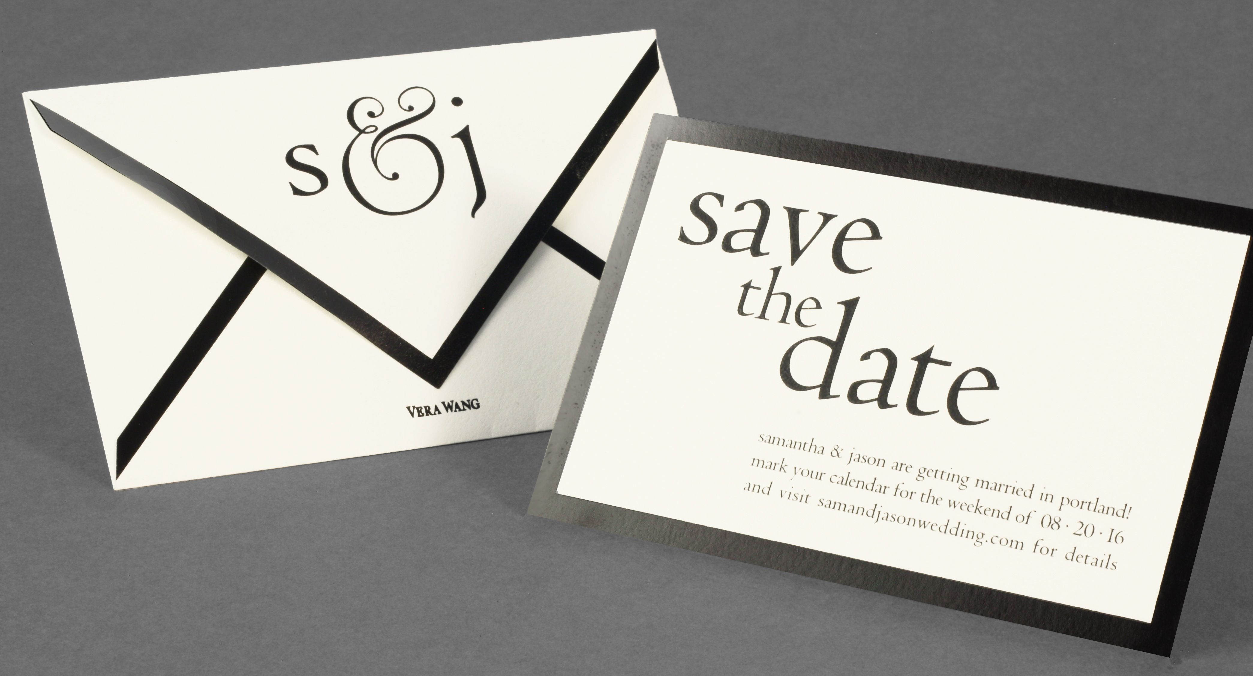 Vera Wang save the date with a black border and matching bordered ...