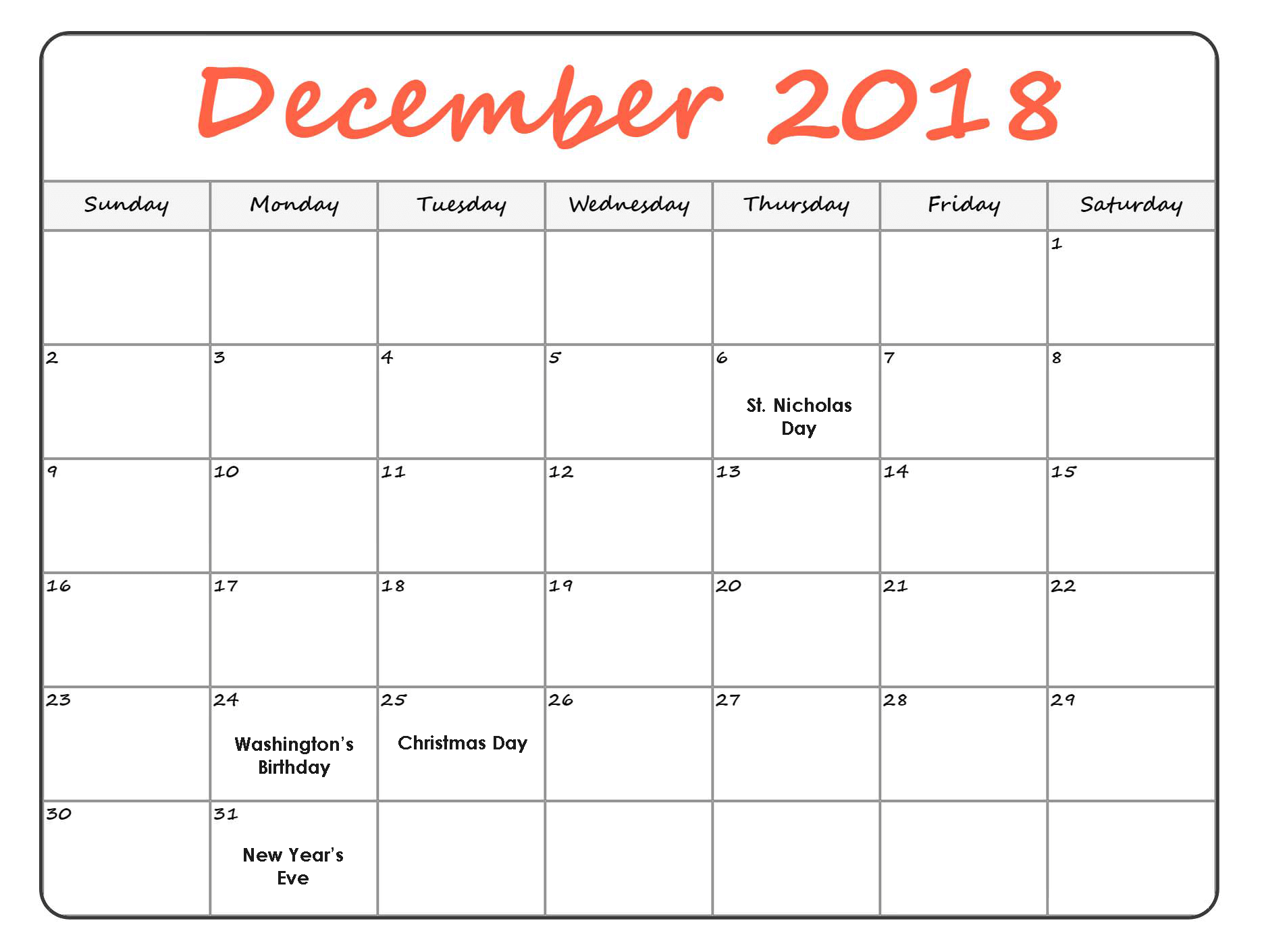 december 2018 calendar with holidays monthly with notes