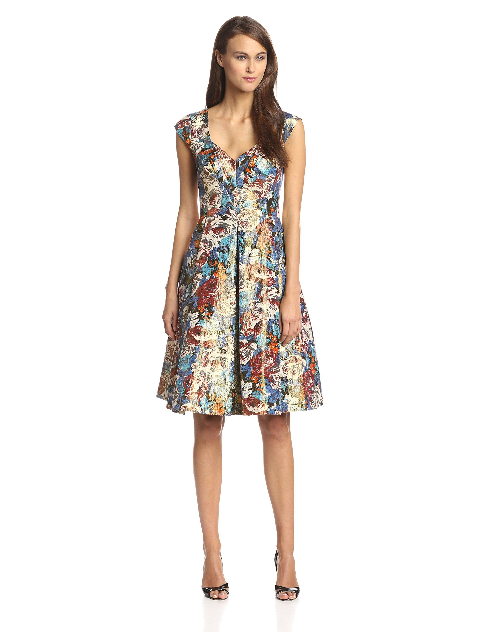 Tracy Reese Women's Floral Lame Fit and Flare Dress, Multi, 4