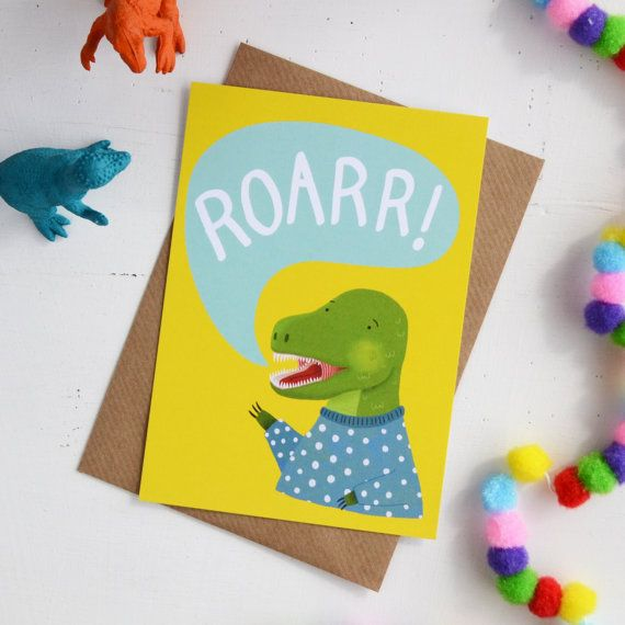 T-Rex Dinosaur Postcard, Kids Bedroom Mini Art Print, A6 Alternative ...