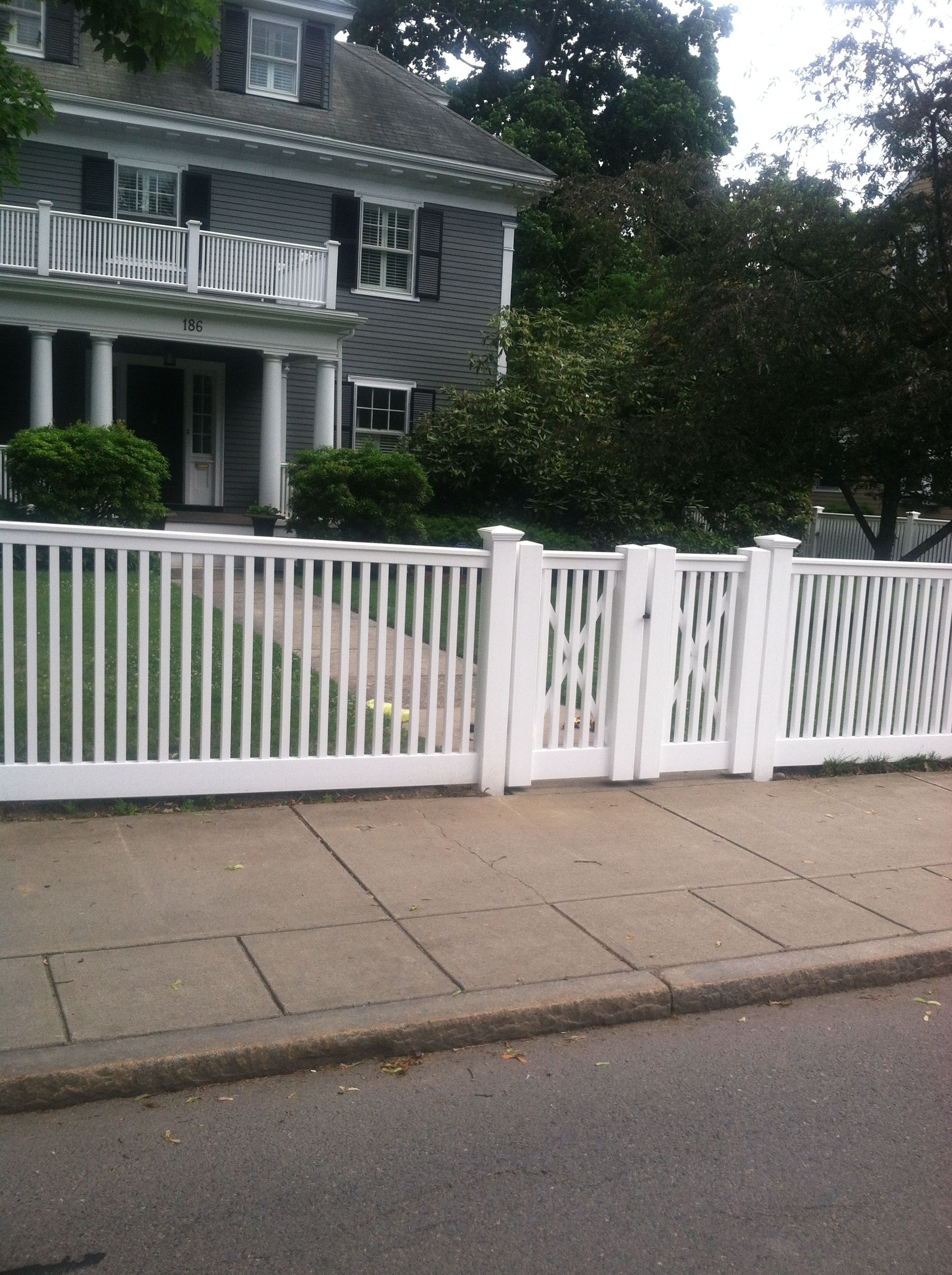 Double Fence Gate the cohasset t-top 2-rail white pvc fence with double gate | open