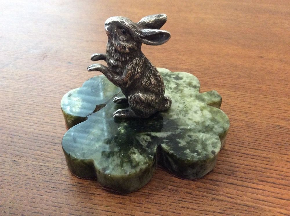 1898 Novelty Hare Rabbit Solid Silver Sampson Mordan & Co Paperweight