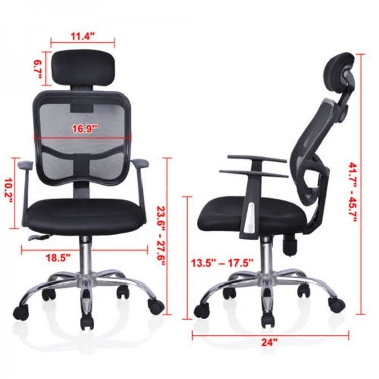 Tall Office Executive Chair Swivel Adjustable Neck Back Support