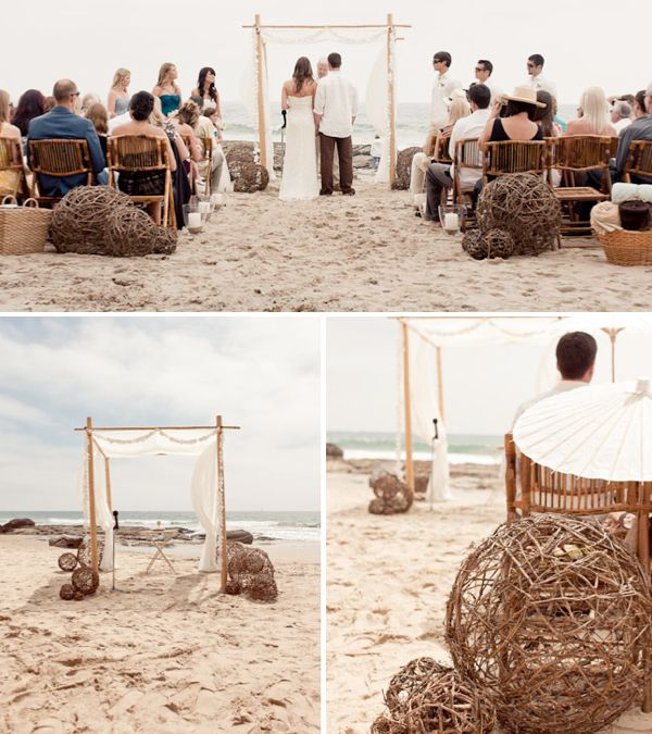 Beach Wedding Ceremony Ideas: Candles In Hurricanes Down Aisle Or Filled With Fabric