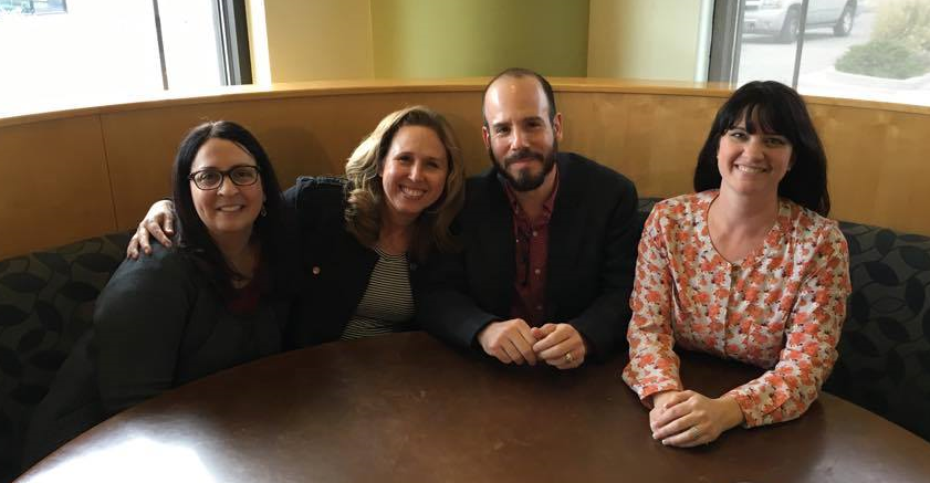 Afterwards, I had lunch with three of my writer friends who happen to live near the school: Christine Hayes (Mothman's Curse), Heidi Lewis (I can't wait for you to read her nonfiction), and Amy Finnegan (Not in the Script).