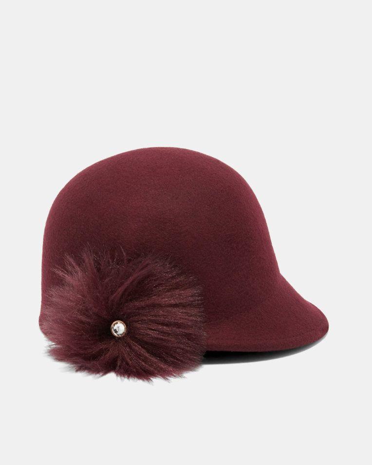 6ce4f0f873f10 Faux fur pom-pom hat - Maroon