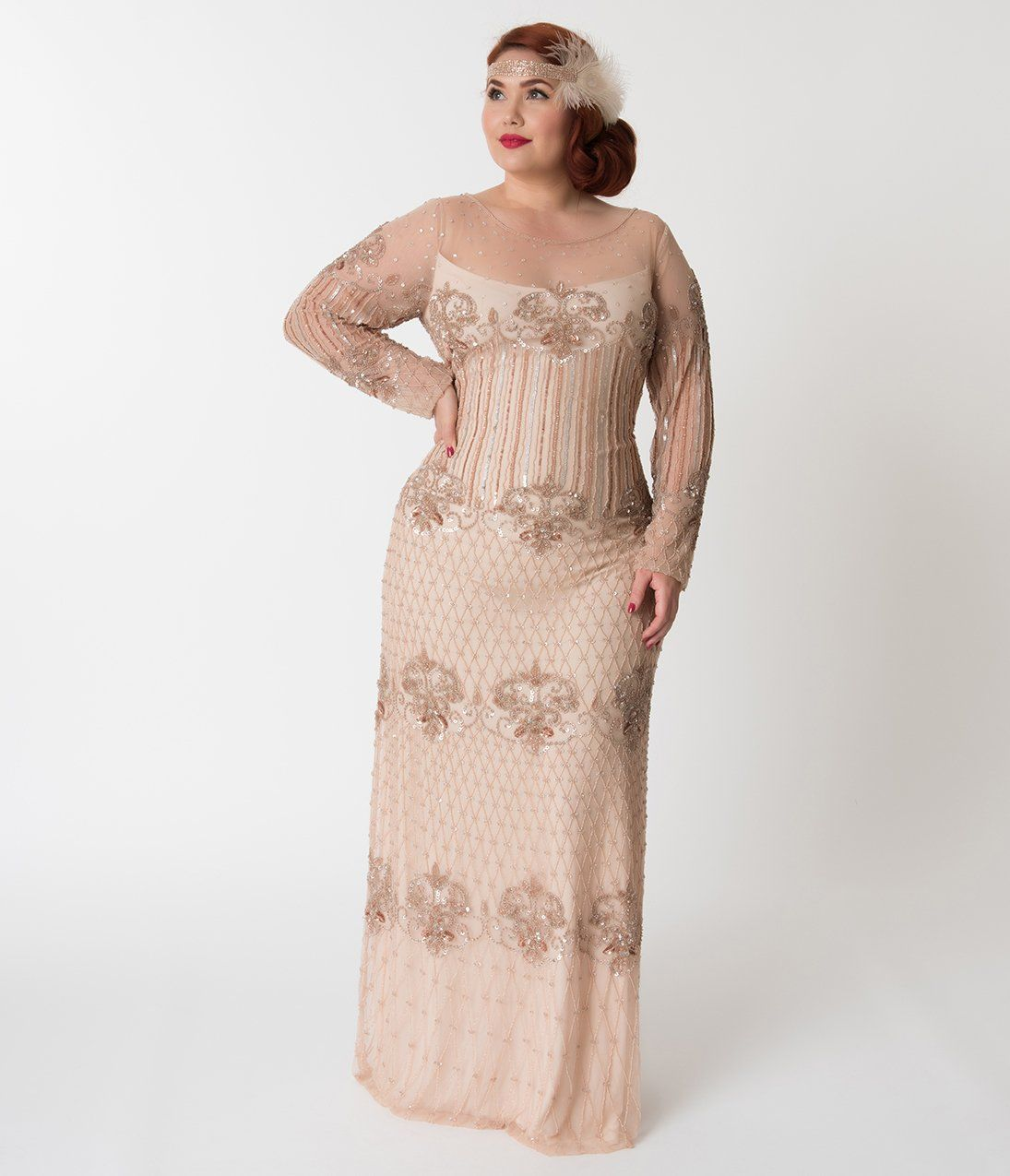 a6afc873100 Plus Size 1920s Style Beige   Rose Gold Sequin Edwige Flapper Dress in 2019