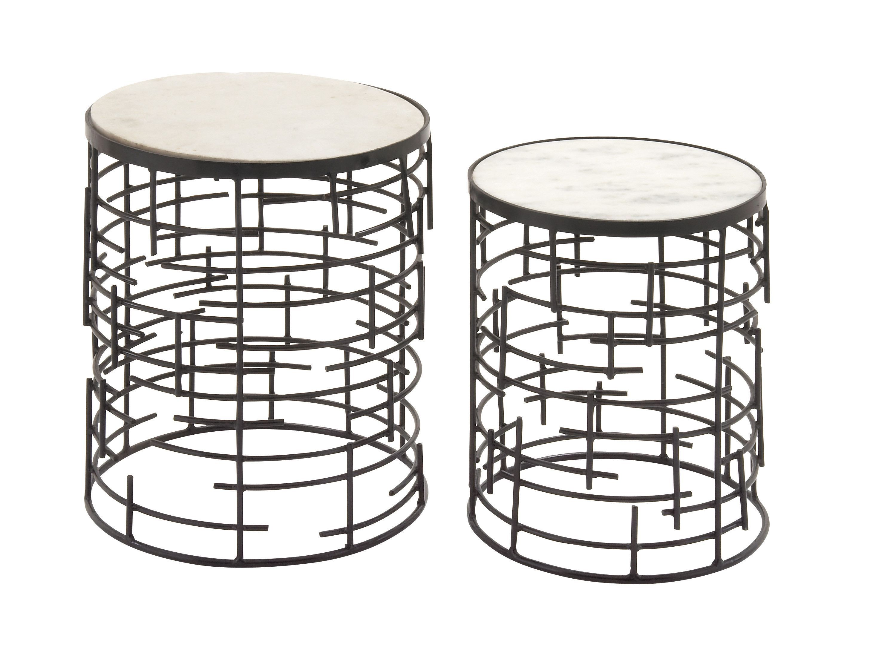 Fantastic Set Of Two Metal Marble Accent Table These