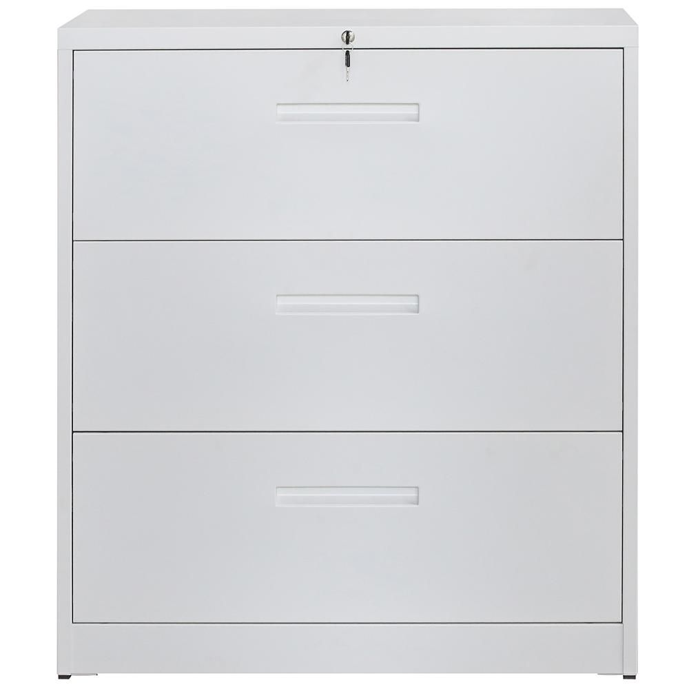 Boyel Living 3 Drawer White Lateral File Cabinet Lockable Heavy Duty Metal File Cabinet Tr Wf192107kaa The Home Depot In 2020 Filing Cabinet Lateral File Cabinet Metal Filing Cabinet