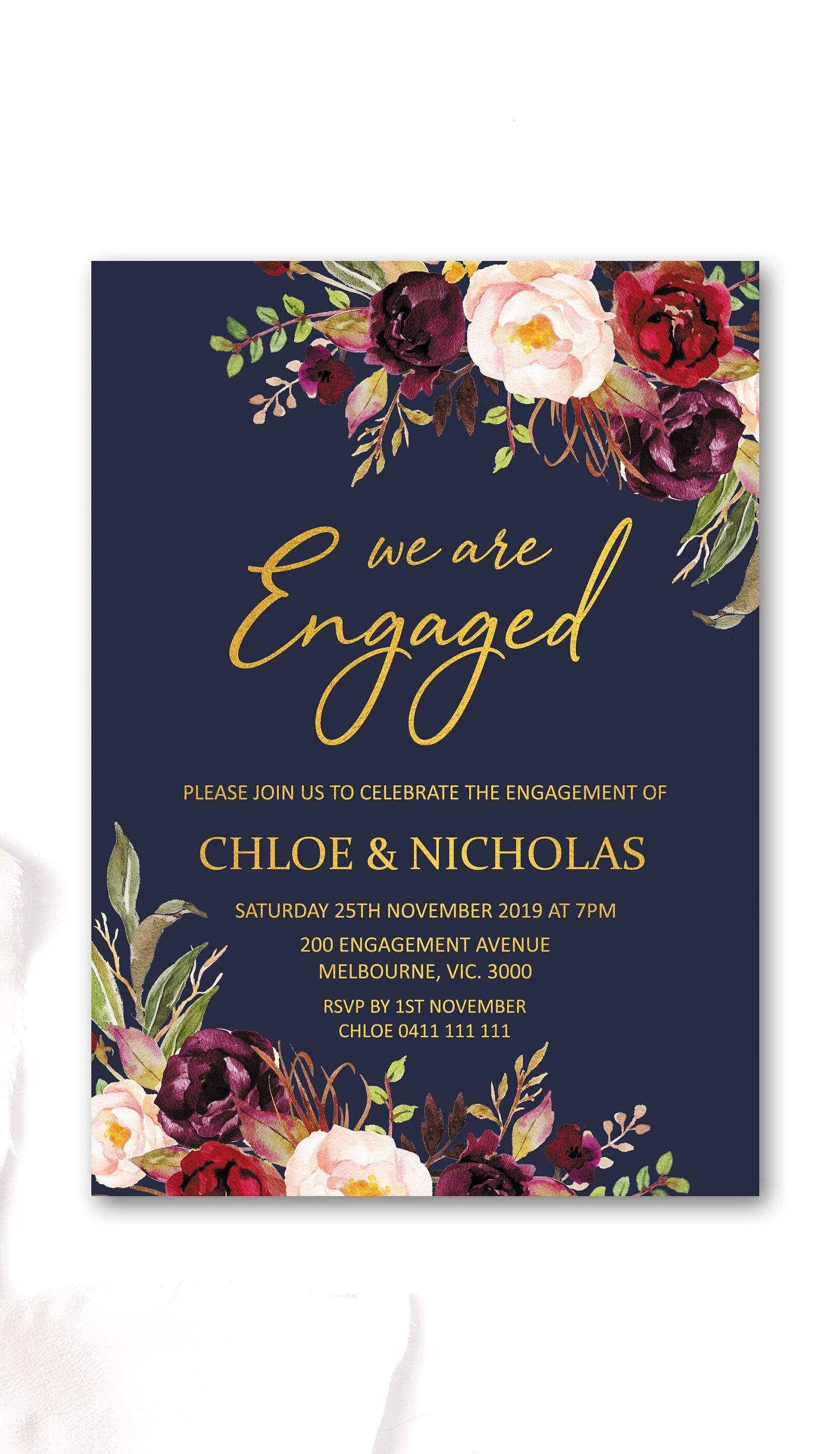 Navy Marsala Engagement Invitations Printable Engagement Party