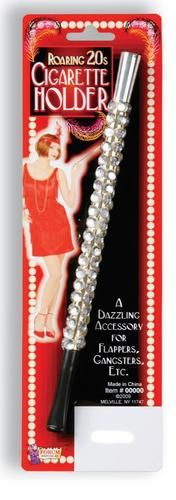 Roaring 20s Flapper Silver Jeweled Cigarette Holder Charleston Costume Accessory | eBay