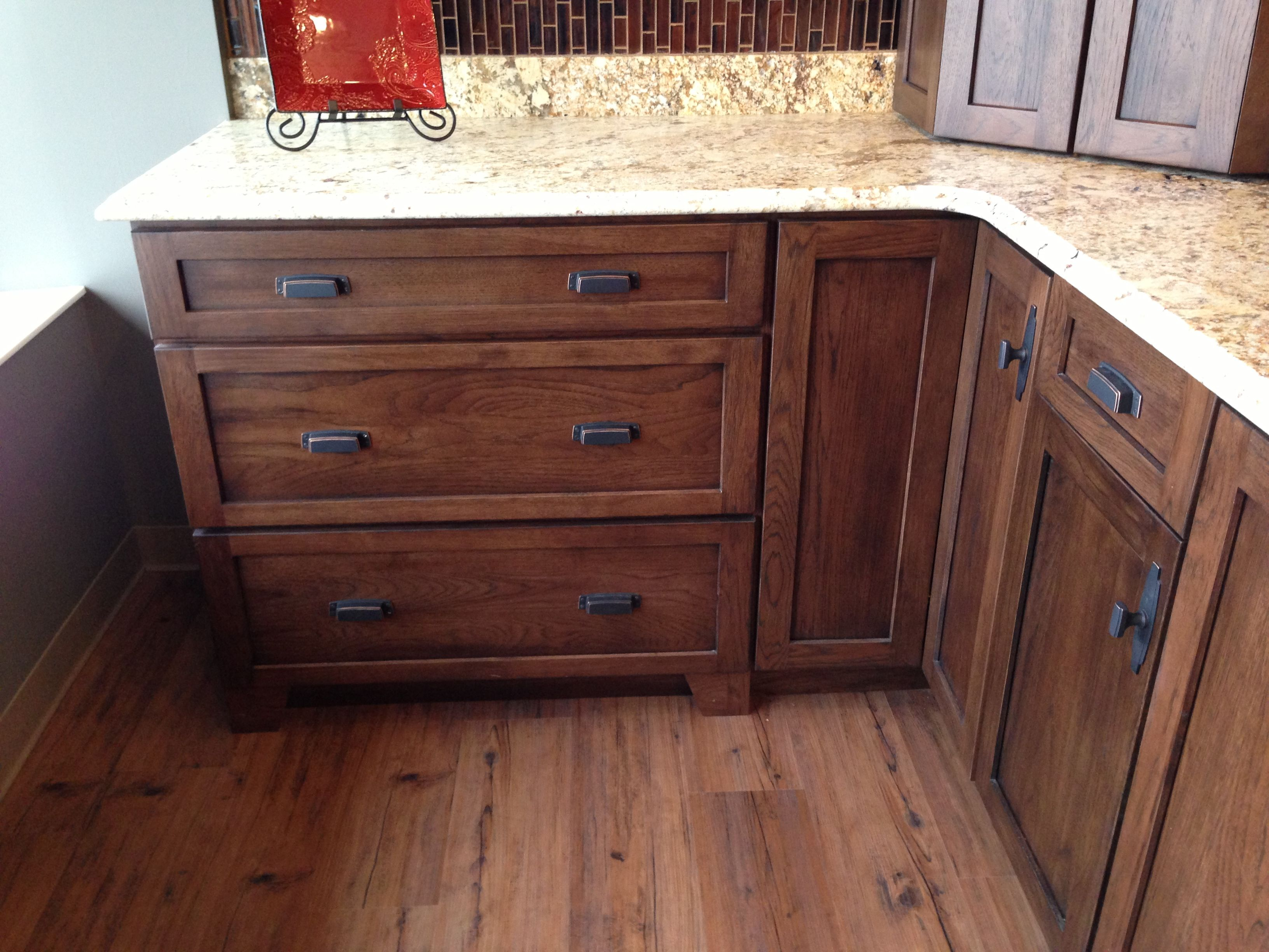 Hickory Kitchen Cabinets Pre Made Cupboards Dark Shaker Style For Bathroom