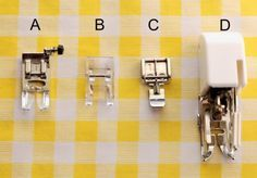 BASIC PRESSER FEET:  A.)  General Purpose    B.)  Zig-Zag/Embroidery    C.)  Zipper Foot    D.)  Walking Foot/Even Feed Foot
