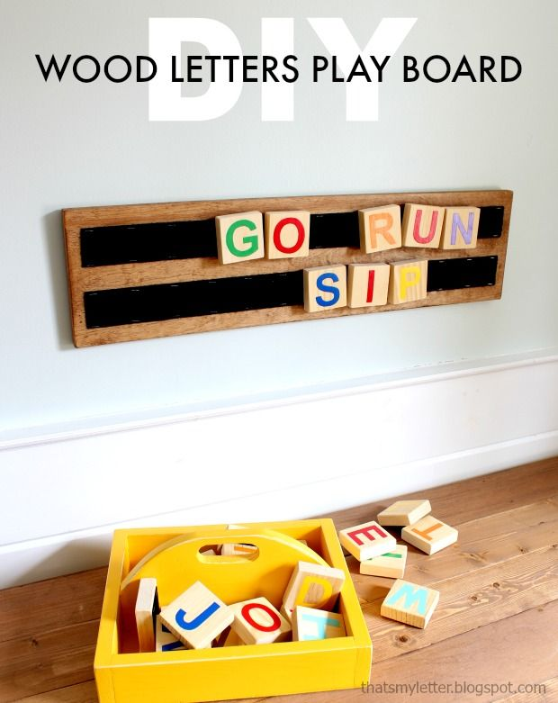 DIY Wood Letters Play Board - Kids wood, Wood letters, Wood diy, Wood toys, Diy kids toys, Diy for kids - Scrap wood lovers I've got another project for you that makes a fun kids learning toy wood letters play board  Gather up all your 1×3 pieces to make the wood letters and paint them fun colors or use vinyl cutouts if you're fancy! Kids can easily move the letters around making different words  I store    Read more