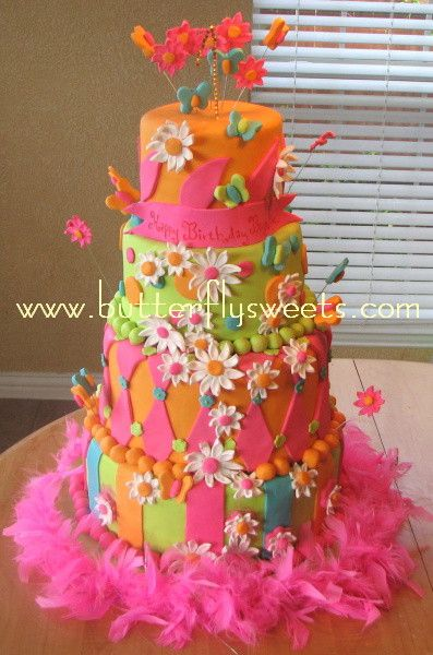 little girl over the top birthday cakes   Over The Top First Birthday: 4 tiers of brightly colored fondant, in ...