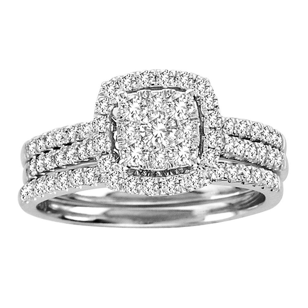 1 carat Halo Cluster Princess Cut Diamond Engagement/Wedding Set in ...
