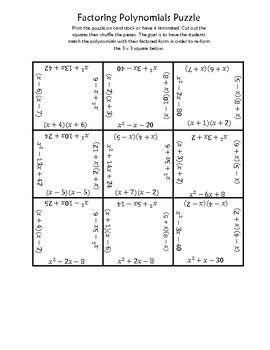 Factoring Polynomials Square Puzzle Factoring Polynomials