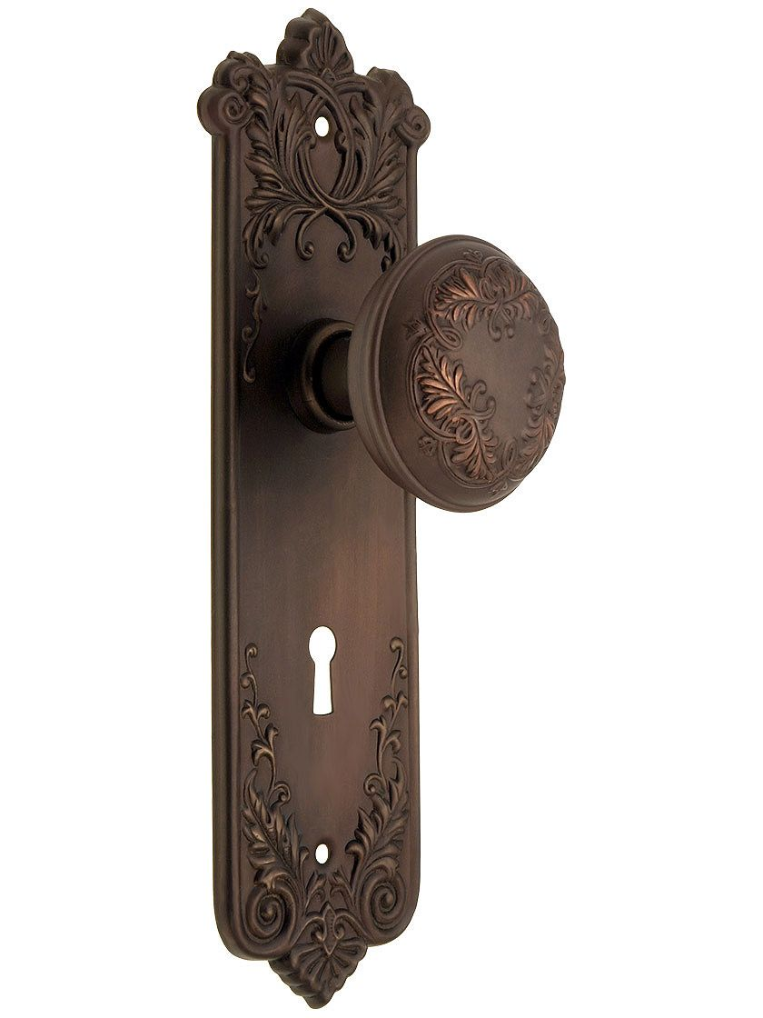 Wrought bronze lorraine mortise lock set old school style i - Old fashioned interior door locks ...