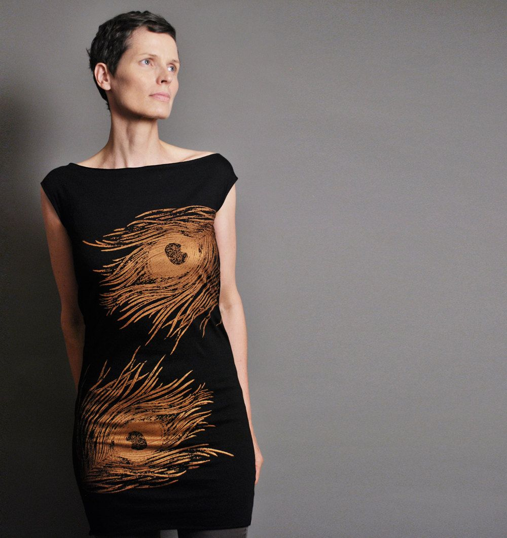Black t shirt dress etsy - Sample Sale Large Peacock Dress Black T Shirt Dress Metallic Copper Peacock Print