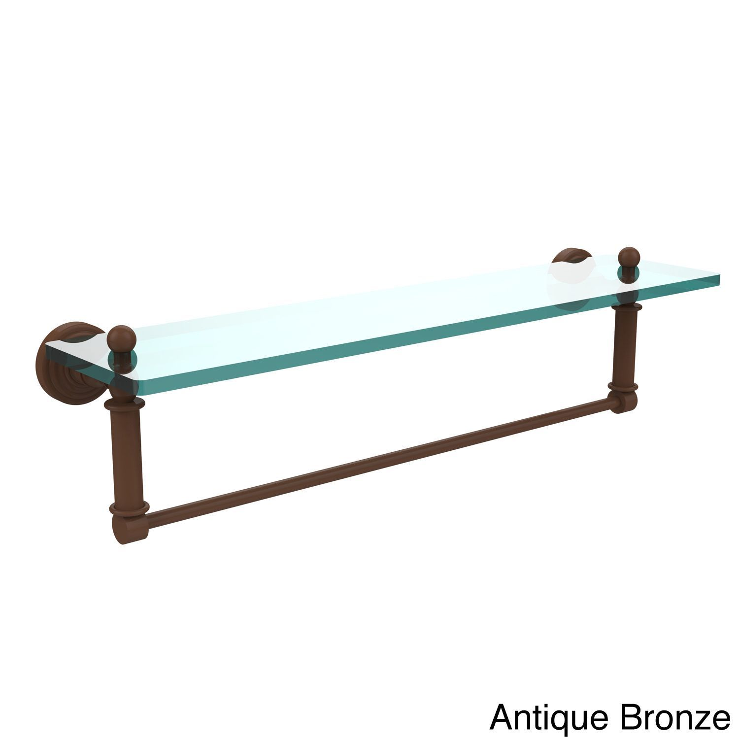 Allied Waverly Place Collection 22-inch Glass Vanity Shelf with Integrated Towel Bar