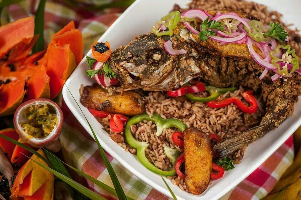 Rice/red beans and fried fish...Haitian dish! :-) yummy ...