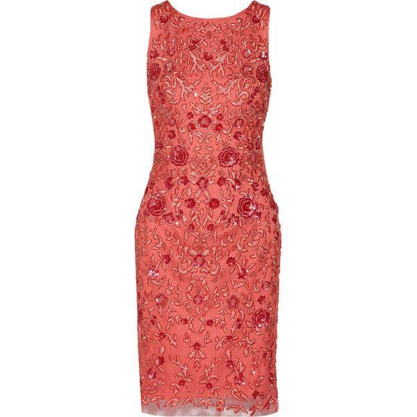 Badgley Mischka Embellished tulle dress ($385) ❤ liked on Polyvore featuring dresses, papaya, embellished dresses, beaded cocktail dress, red dress, embroidered dress and red cocktail dress
