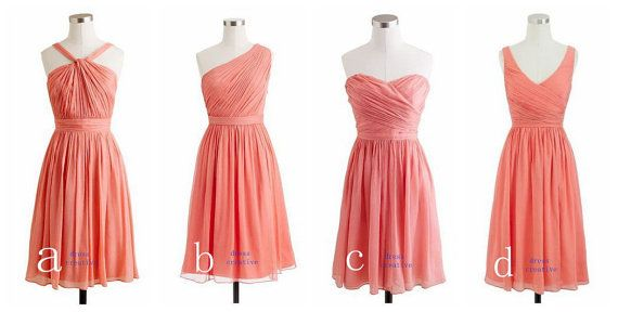 Group of Four Watermelon/Light Coral Short Chiffon Bridesmaid ...