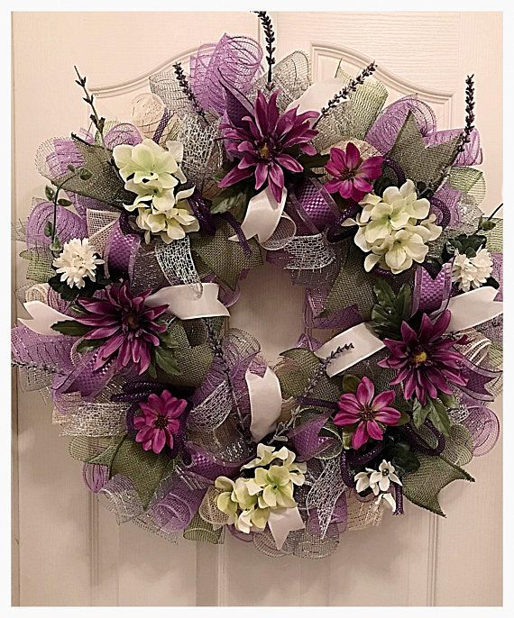 Lavender, Cream and Silver Floral Deco Mesh Wreath/Lavender Wreath/Purple Floral Wreath/Purple Wreath