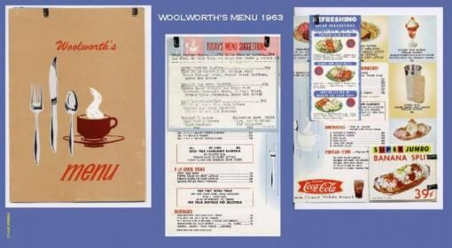 Woolworth's lunch counter menu 1963 | Growing-Up in the 60's