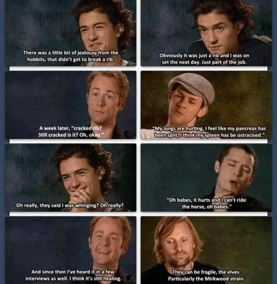 the cast of LOTR on broken ribs | LOTR, Hobbit and Lord