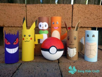 Pokemon toilet paper roll craft check out these pokemon for Pokemon crafts for kids