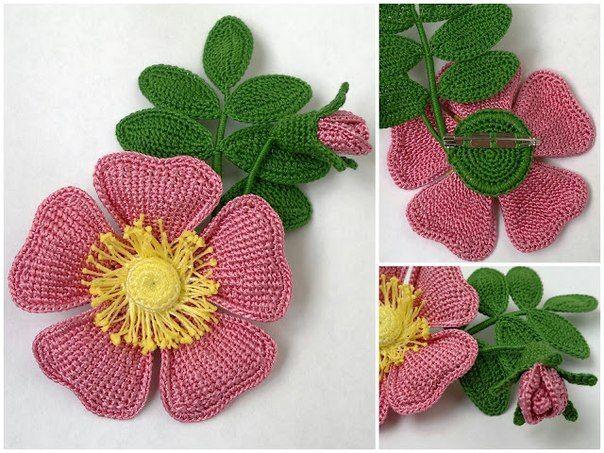 Схема цветков вязаных